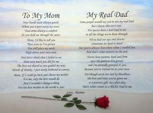 To My Mom My Real Dad Personalized Poem Nice Christmas Gift for Mom Step Dad