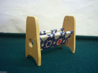 Dollhouse Miniature Wood Sewing Basket Stand Antique Furniture Germany