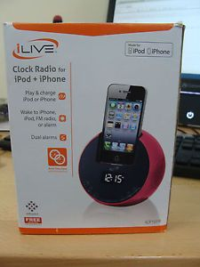 iLive ICP101P Pink Clock Radio for iPod and iPhone Dual Alarms Auto Time Sync