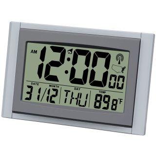New Jumbo LED Alarm Clock Radio Signal LCD Screen Easy to Read w Weather Date
