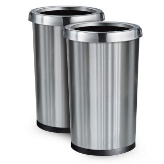2 Pack Stainless Steel Commercial Home Office Trash Bin Garbage Can 13 Gal New
