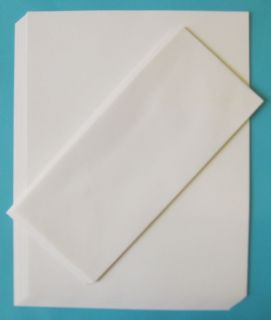25 Sets White Laid Letter Size Blank Printable Handwriting Paper 10 Envelopes