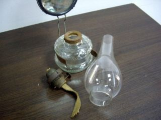 Antique Clear Glass Oil Wall Lamp with Reflector