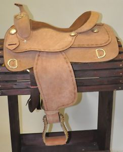 """New Roughout Barbed Wire Trim Training Horse Saddle 16"""""""