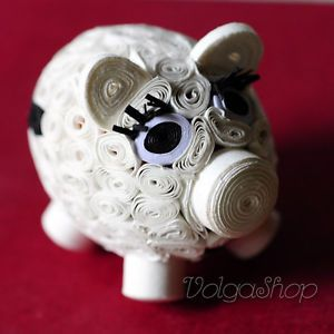 Lovely Piggy Handmade Handcrafted Quilling Paper Quilled Pig Toys Gifts