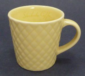 Starbucks Coffee 2006 3 oz Yellow Demitasse Espresso Mug Cup Diamond Pattern