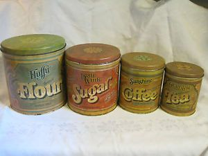 Vtg 1979 Ballonoff Pentron Industries Tin Canister Set Flour Sugar Coffee Tea