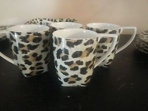222 Fifth Leopard Dinnerware 4 Coffee Tea Mugs Cups