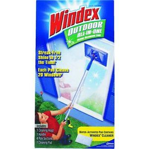 Windex Outdoor All in One Window Cleaning Kit Head Handle Poles Pad Clean New