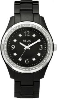 Relic by Fossil Starla Women's Black Resin Crystal Accent Watch ZR11891 Used