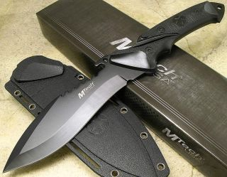 MTech Tactical Black Sawback Fixed Blade Combat Knife Kydex Sheath Full Tang 440