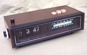 Vintage Ambassador Flip Type Mechanical Digital Alarm Clock Radio w New Bulb