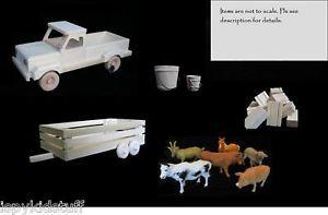 Amish Wood Wooden Toy Farm Pickup Truck Livestock Animal Trailer Toy Hay Set
