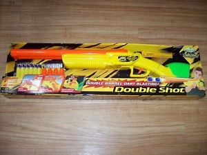 Buzz Bee Toys Buzzbee Toys Double Shot Toy Gun 6 Foam Darts 4 Shells New on Card