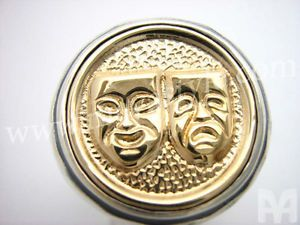 925 Sterling Silver Gold Comedy Tragedy Mask Ring Smile Now Cry Later Jewelry
