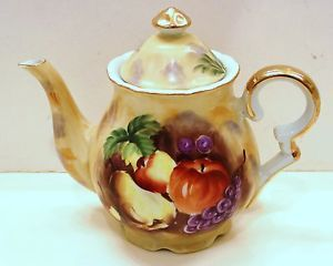 Vintage Japan Coffee Tea Pot Gold Gilded Handpainted Fruit Design