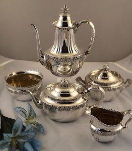 Tiffany Antique Sterling Silver 5 Piece Coffee Tea Set English King Pattern