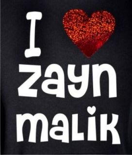 I Love Zayn Malik New Kids Black Hoodie with Red Heart Age 5 15
