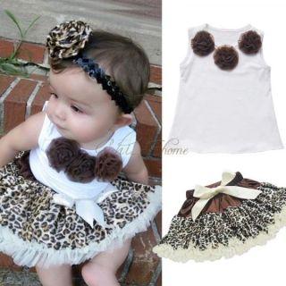 Baby Girls Kids Top Leopard Pettiskirt Skirt Dress Costume Tutu Outfits 2T 3T 4T