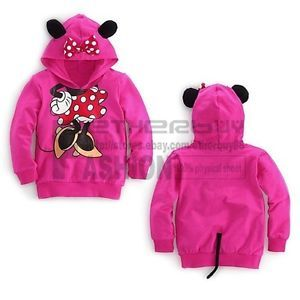 Girls Baby Minnie Mouse Costume Hoodie Top 3D Ear Tail Coat Sweater 2T 3T 4T 5T