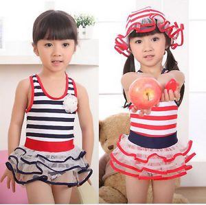 Girls Baby Kid Sailor Swimwear Swimsuit Bathers Bikini Tankini 2 7Y Swim Costume