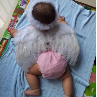 6 18mo Baby Toddler Costume Angel Feather Wings White