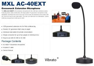 MXL AC40EXT Gooseneck Microphone Conference Mic System Table Condenser Extension