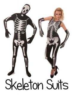 New Mens Ladies Couples Halloween Party Fancy Dress Costume Outfit Skeleton Suit