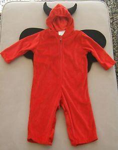 Red Devil Halloween Costume Kids Baby Toddler Spencer Gifts Wings Hood 18 24 Mos