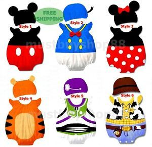 Baby Infant Toddler Variou Cartoon Costume Bodysuit w Hat Outfits 3 18 Months