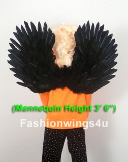 Childrens Black Swan Costume Feather Wings Pointing Up Down Flying Monkey Props
