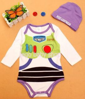 Baby Unisex Cartoon Character Costume Bodysuit with Hat 7 Style 9M 36M
