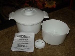 Nordic Ware Microwave Rice Cooker with Pasta Vegetable Steamer Basket Set Food