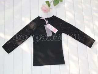 New Kids Girls Lovely Party Long Sleeve Lace Navy Black Tops Shirts Age 2 7Y