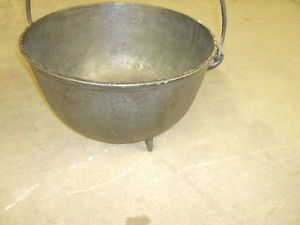 Antique Cauldron Footed Cast Iron Pot Hand Forged Handle Garden Urn Cookware