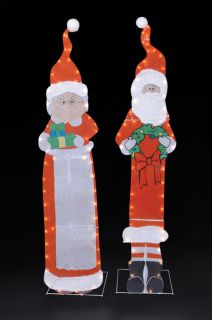 "60"" Mr Mrs Santa Claus 2pc Lighted Christmas Yard Art"