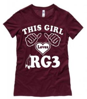 Junior Womens Maroon Robert Griffin III This Girl Loves RG3 Snug Fit T Shirt Tee