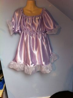 French Maid Dress Cosplay Sissy Adult Baby CD 20 22 24 Lilac Satin Adult Child