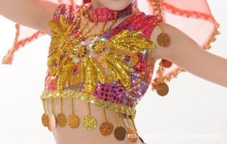 Girls Kids Belly Latin Arabian Party Costume Dance Dress Harem Glove Set