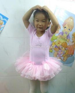 Girl Dance Party Leotard Ballet Tutu Dress Costume Short Sleeve Fairy Skirt 2 7Y