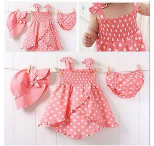3pcs Kid Baby Girl Dress Braces Skirt Pant Hat Set Outfit Costume Clothes 0 36M