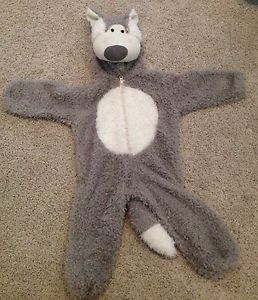 Toddler Baby Big Bad Wolf Halloween Costume 18 Months 2T Grey White Furry Romper
