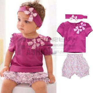 3pcs Kid Toddler Baby Girls Infant Top Pant Headband Outfit Costume Cloth 6 24 M