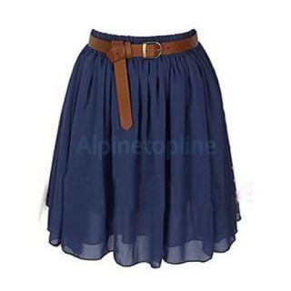 Lovely Women Empire Waist Chiffon Pleated Summer Skirt Mini Dress Navy Blue