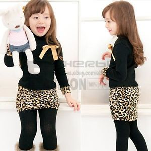 Girls Kids Baby Leopard Long Sleeve Bow Party Pageant Dress Skirt Costume Sz 3T