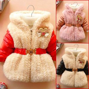 Christmas Baby Girl Clothes Winter Coat Black Red Belt Coat Baby Dress 12M 4Y