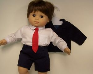 4pc Navy Blue Suit Jacket White Dress Shirt Tie Doll Clothes 4 Bitty Baby Boy♥