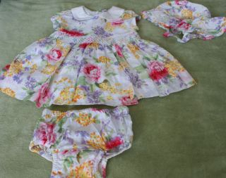 Baby Girls Sz 3 6 Months Gap Beautiful Floral Easter Dress with Bonnet