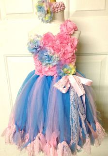 Beautiful Flower Tutu Dress Holiday Party Baby Shower Birthday Photograph 0 5T