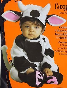 Halloween Infant Cozy Cow Romper Costume Size 0 6 Months Up to 26 In